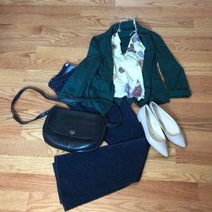 Dark green stretchy 3/4 sleeve open blazer